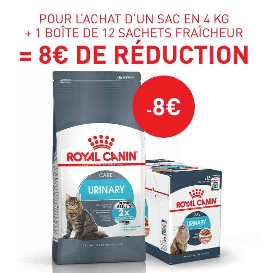 Royal Canin Feline Care Nutrition Offre Royal Canin: 1 sac Féline Care Nutrition Urinary Care 4 kg + 12 sachets Urinary Care sauce acheté = 8€ de remise immédiate