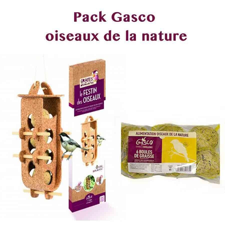 Graines de découvertes Pack oiseaux de la nature: 1 Distributeur Boule de graisse Le Festin des Oiseaux + 6 Boules de graisse Gasco