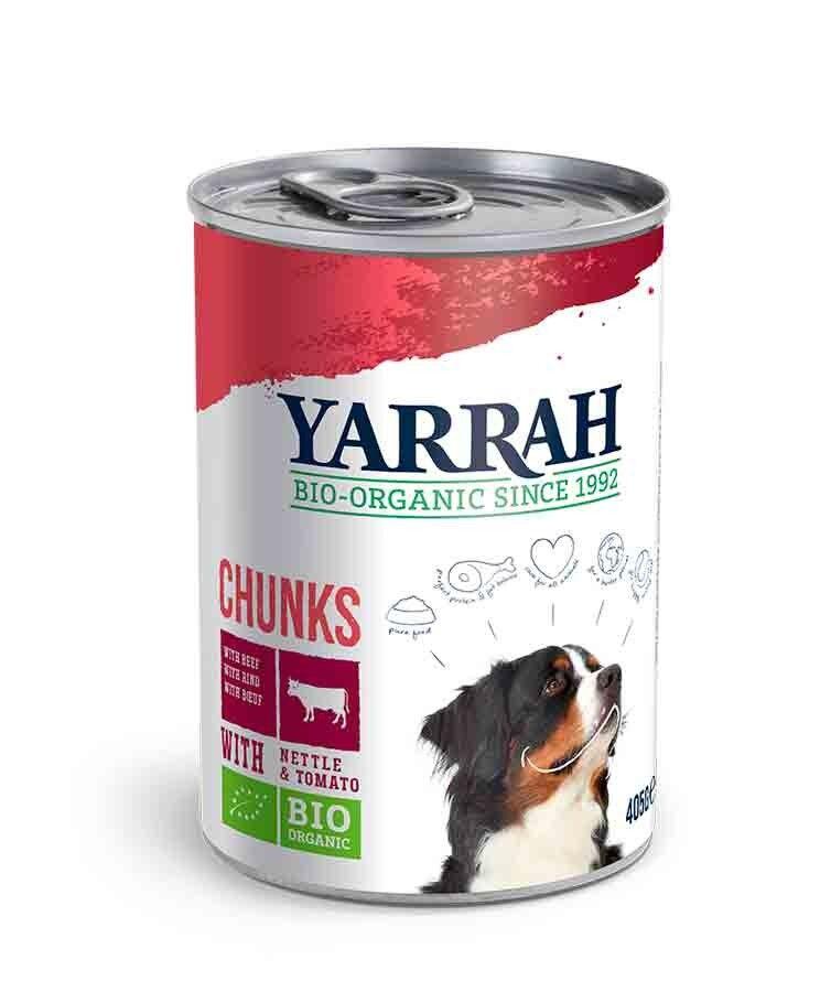 Yarrah Bio Bouchées de boeuf et poulet en sauce aux orties et tomate pour chien 6 x 820 grs