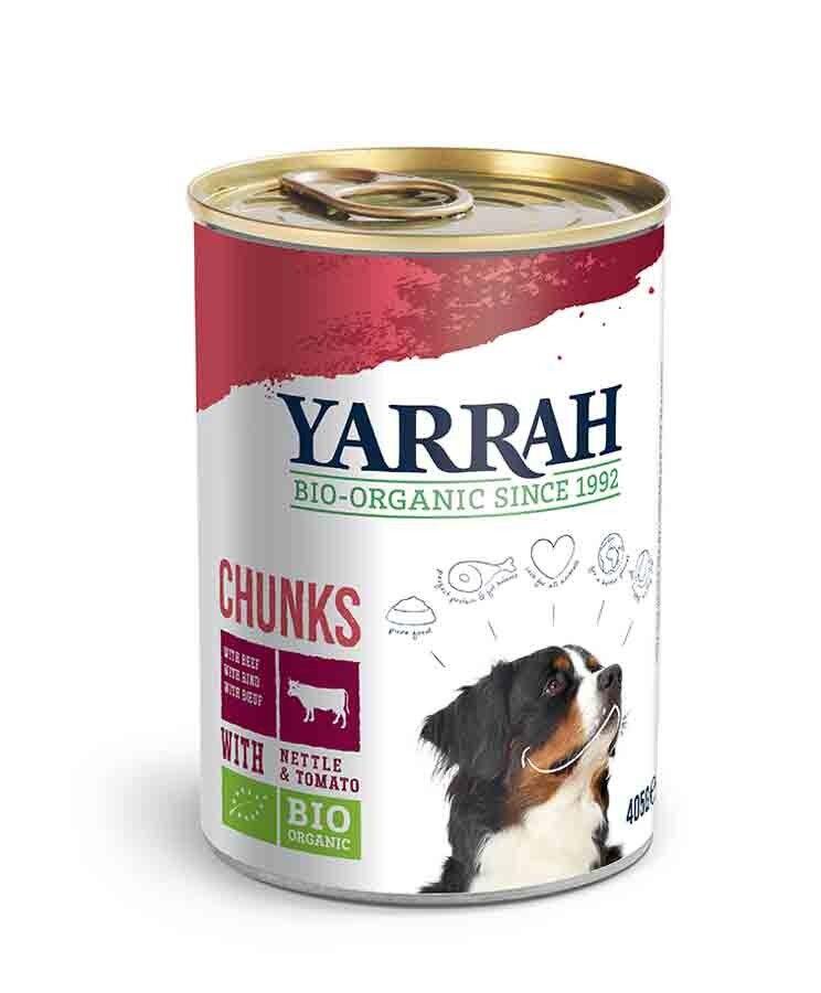 Yarrah Bio Bouchées de boeuf et poulet en sauce aux orties et tomate pour chien 12 x 405 grs