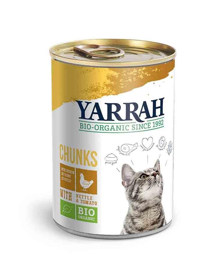 Yarrah Bio Bouchées de poulet aux orties et à la tomate pour chat 12 x 405 grs
