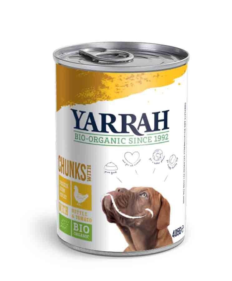 Yarrah Bio Bouchées de poulet en sauce aux orties et à la tomate pour chien 12 x 405 grs