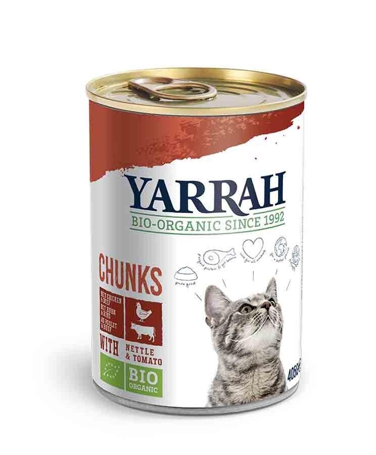 Yarrah Bio Bouchées de poulet et boeuf en sauce aux orties et à la tomate pour chat 12 x 405 grs