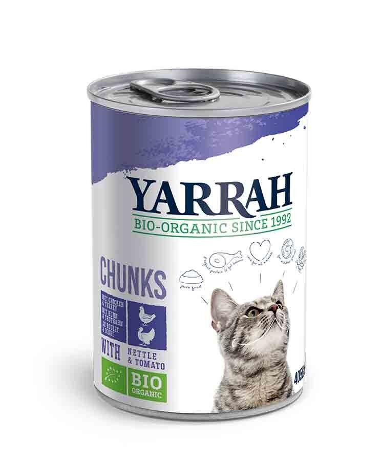 Yarrah Bio Bouchées de poulet et dinde en sauce aux orties et à la tomate pour chat 12 x 405 grs