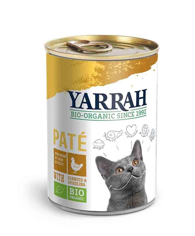 Yarrah Bio Pâté de poulet à la spiruline et aux algues marines pour chat 12 x 400 grs