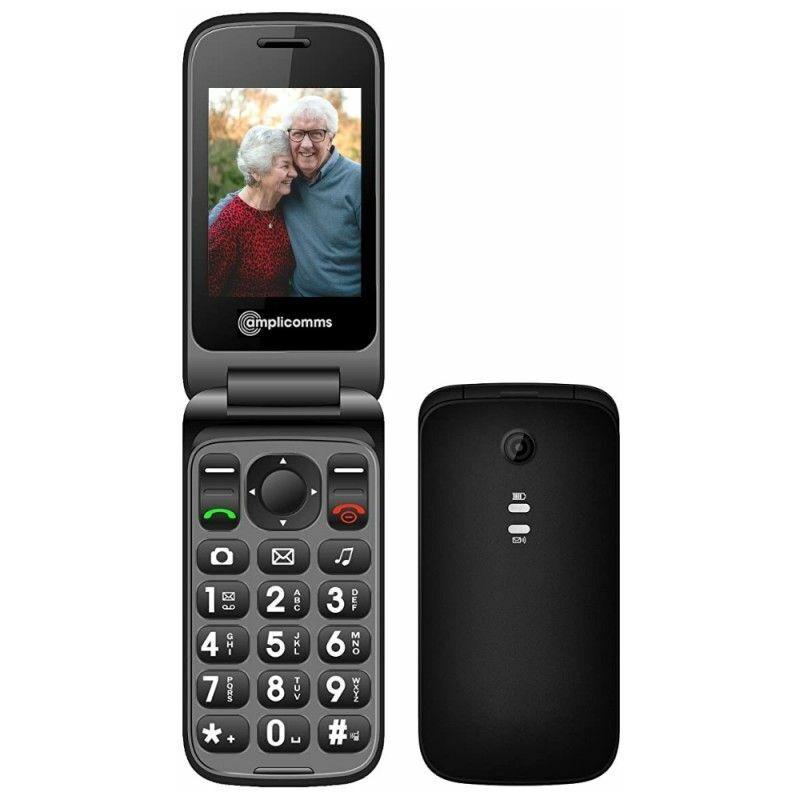 AMPLICOMMS PowerTel M6750 Téléphone Portable pour Senior, Noir - Noir - Amplicomms