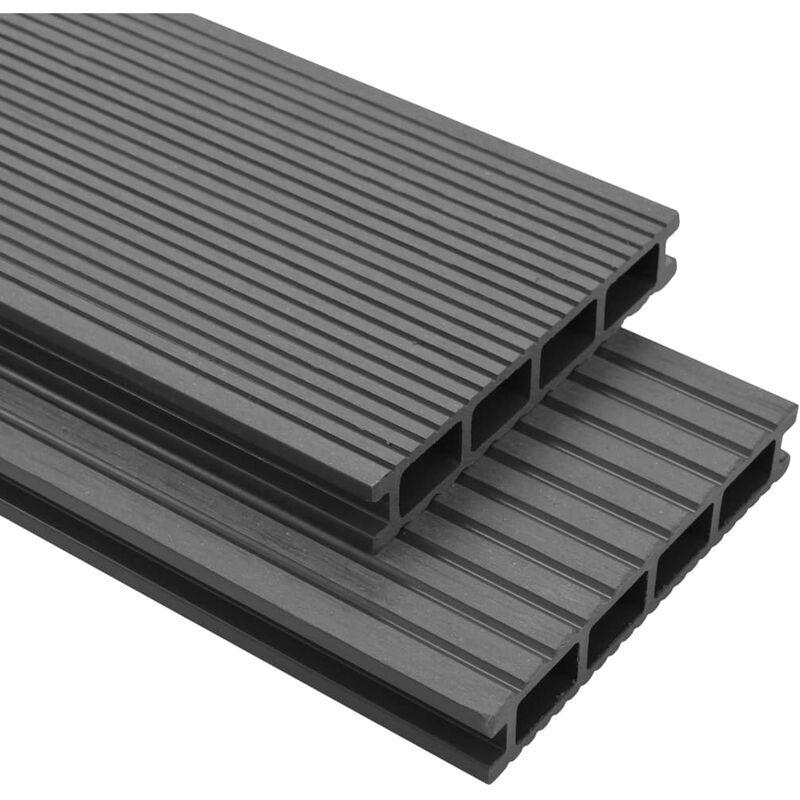YOUTHUP Panneaux de terrasse avec accessoires WPC 10 m2 2,2 m Gris - YOUTHUP