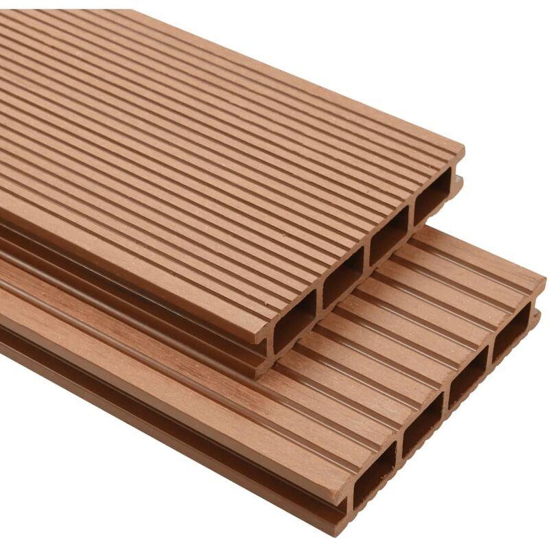 YOUTHUP Panneaux de terrasse avec accessoires WPC 16 m2 2,2 m Marron - YOUTHUP