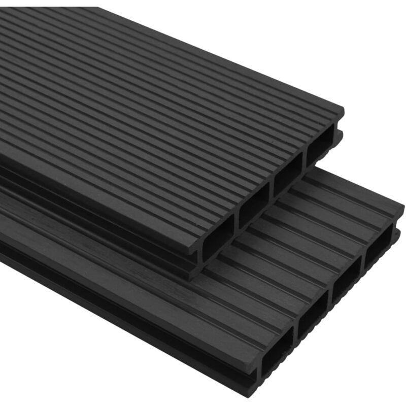 YOUTHUP Panneaux de terrasse WPC avec accessoires 10m2 2,2m Anthracite - YOUTHUP