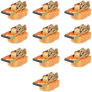 YOUTHUP Sangle d'arrimage à cliquet 10 pcs 2 tonnes 8 m x 50 mm Orange - Publicité