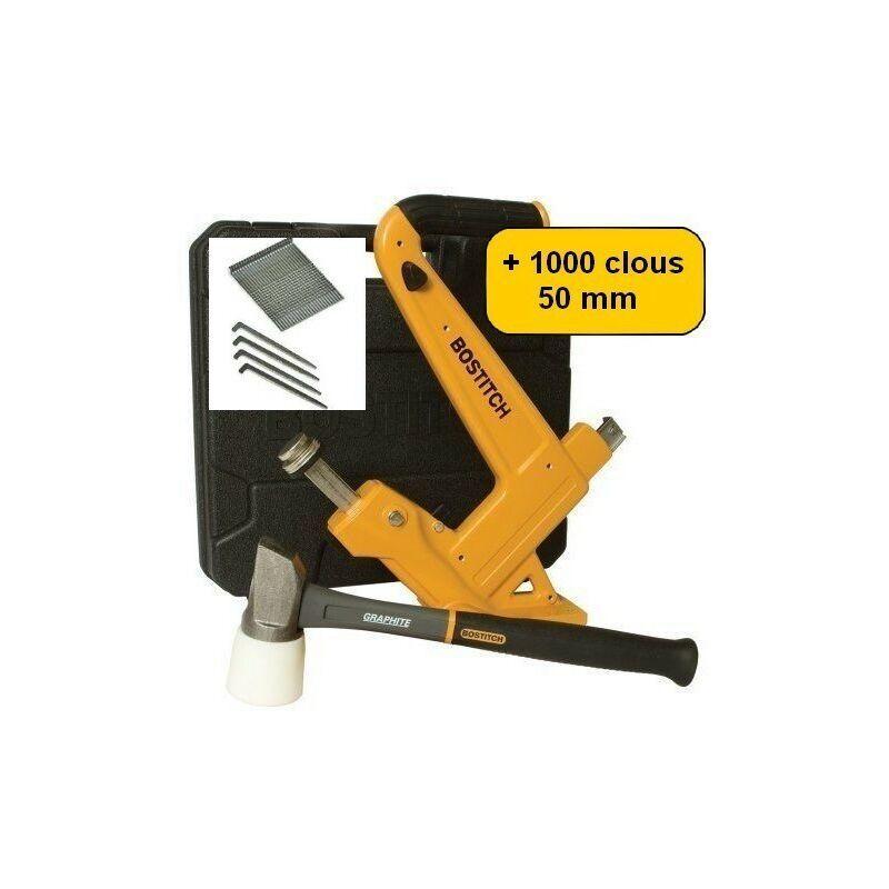 BOSTITCH Cloueur à parquet manuel BOSTITCH MFN201 + 1000 pointes clous 50mm