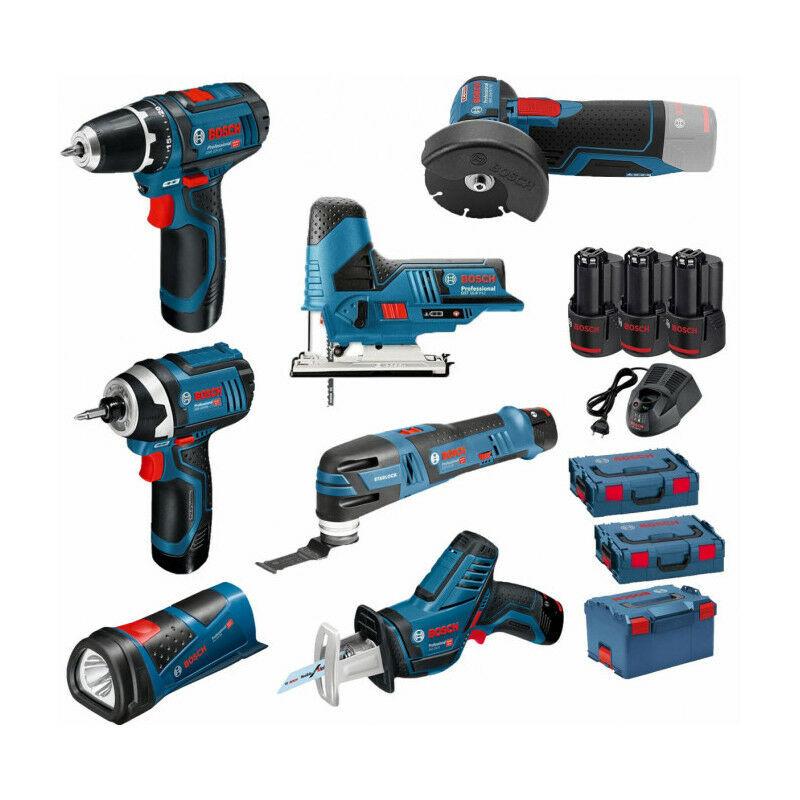 BOSCH Pack 12V 7 outils: Perceuse GSR 12V-15 + Meuleuse GWS 12V-76 + Visseuse