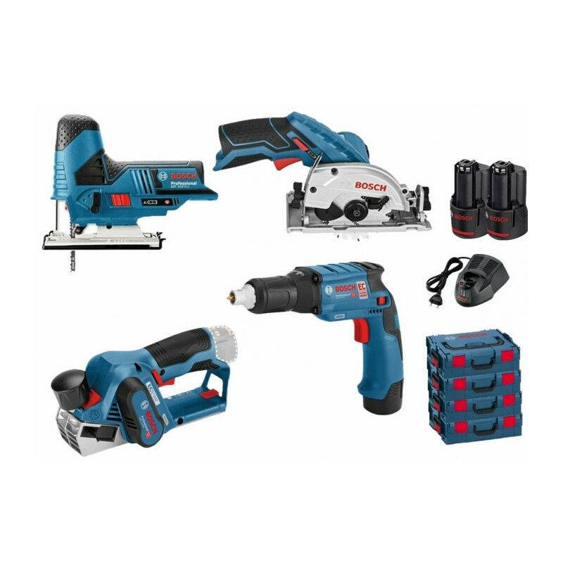 BOSCH Pack 12V 4 outils: Scie sauteuse GST 12V-70 + Scie circulaire GSK