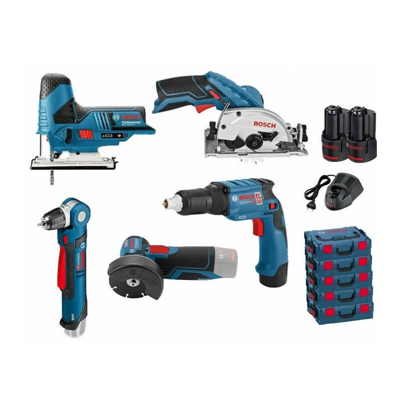 BOSCH Pack 12V BOSCH 5 outils: Scie sauteuse GST 12V-70 + Scie circulaire GSK
