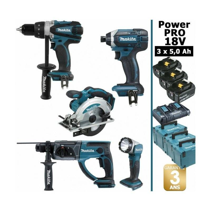 MAKITA Pack Makita Power PRO 18V: Perceuse 91Nm DDF458 + Scie circulaire 165mm