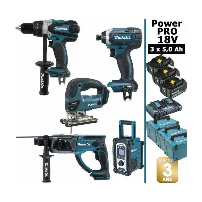 MAKITA Pack Power PRO Makita 18V: Perceuse 91Nm DDF458 + Perfo 2J DHR202 +