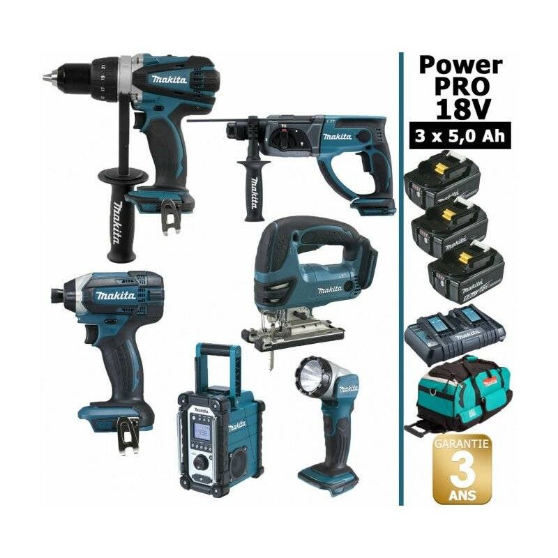 MAKITA Pack Power PRO Makita 6 outils 18V: Perceuse DDF458 + Visseuse à choc