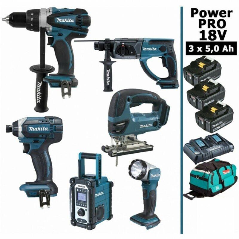 MAKITA Pack Power PRO Makita 6 outils 18V: Perceuse DDF458 + Visseuse à choc