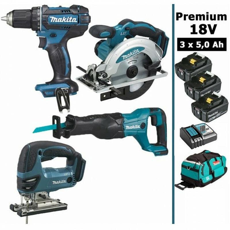 MAKITA Pack Makita Premium 4 machines 18V 5Ah: Perceuse DDF482 + Scie récipro