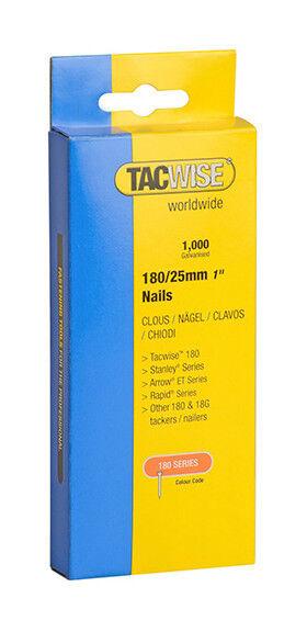 TACWISE Boîte de 1000 clous en acier galvanisé en bande de type 180 L. 25 mm