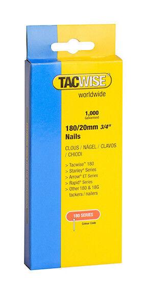 TACWISE Boîte de 1000 clous en acier galvanisé en bande de type 180 L. 20 mm