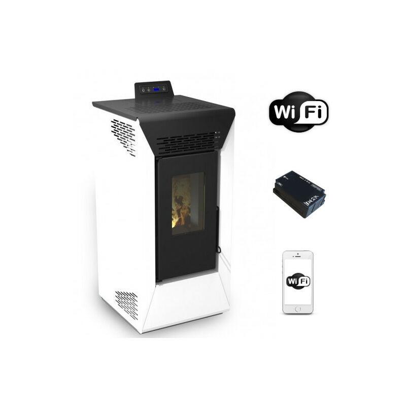 SAN MARCO Poêle à pellet ventilé Courmayeur Blanc de 8,74 Kw avec wifi et App