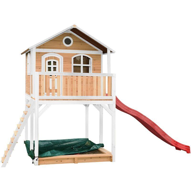 AXI Andy Maison Enfant avec Bac à Sable & Toboggan Rouge   Aire de Jeux