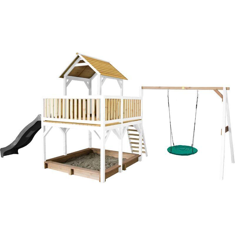 AXI Atka Maison Enfant avec Bac à Sable, Balançoire nid d'oiseau vert &