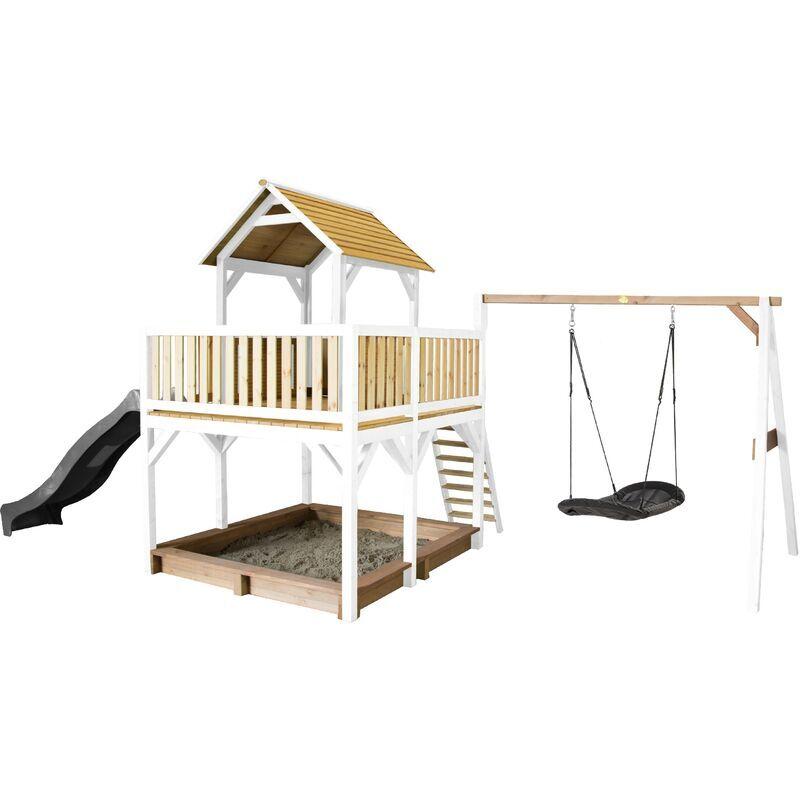 AXI Atka Maison Enfant avec Bac à Sable, Balançoire nid d'oiseau noir &