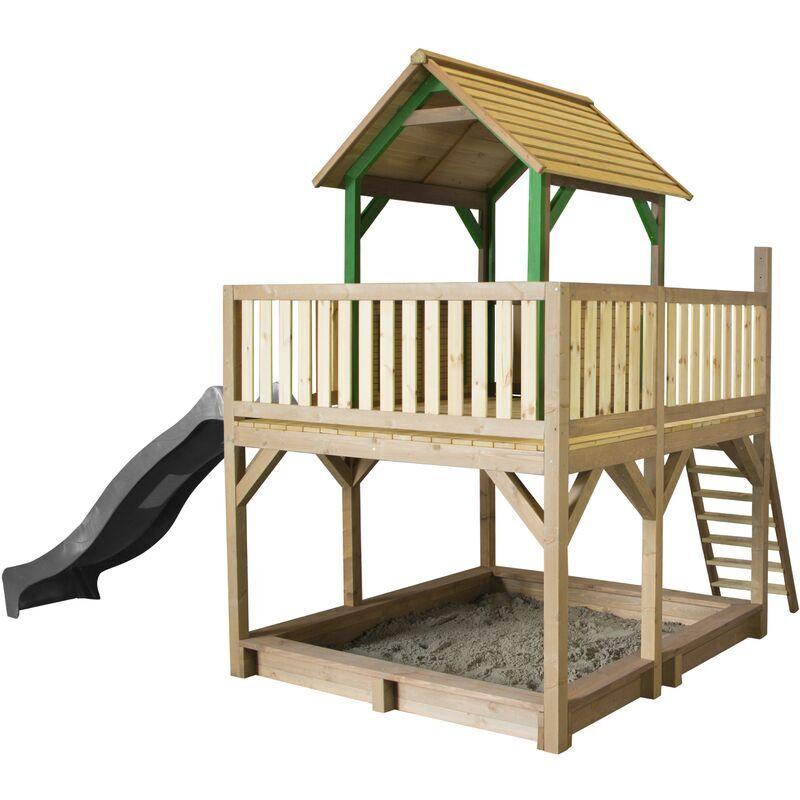 AXI Atka Maison Enfant avec Bac à Sable & Toboggan Gris   Aire de Jeux