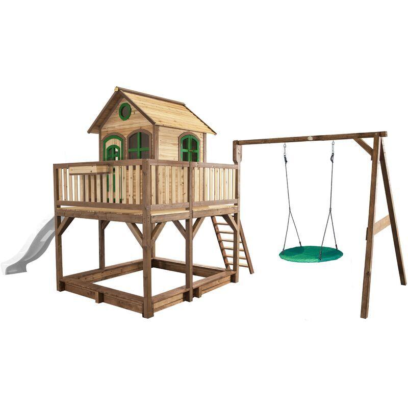 AXI Liam Maison Enfant avec Bac à Sable, Balançoire nid d'oiseau vert &