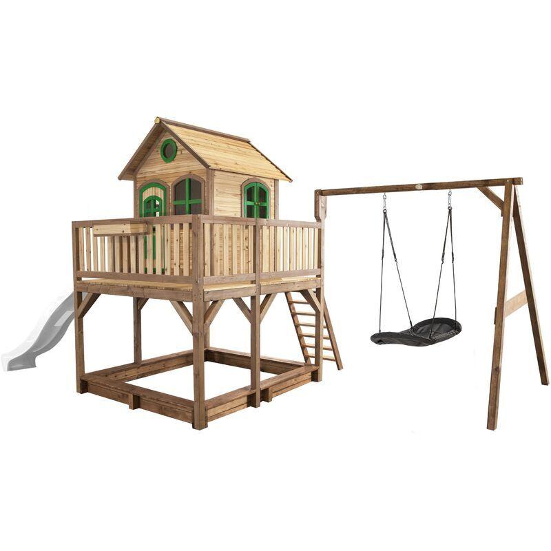 AXI Liam Maison Enfant avec Bac à Sable, Balançoire nid d'oiseau noir &