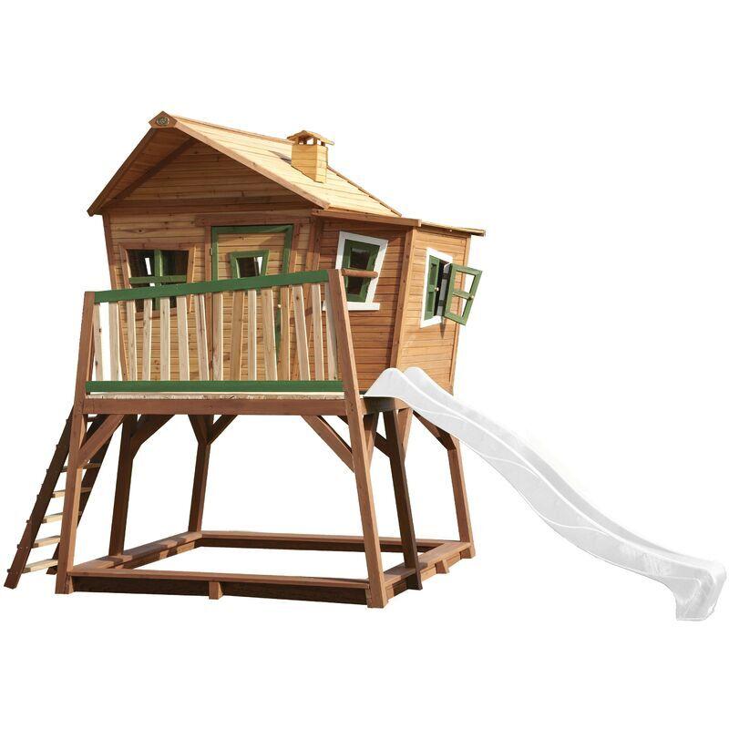 AXI Max Maison Enfant avec Bac à Sable & Toboggan Blanc   Aire de Jeux