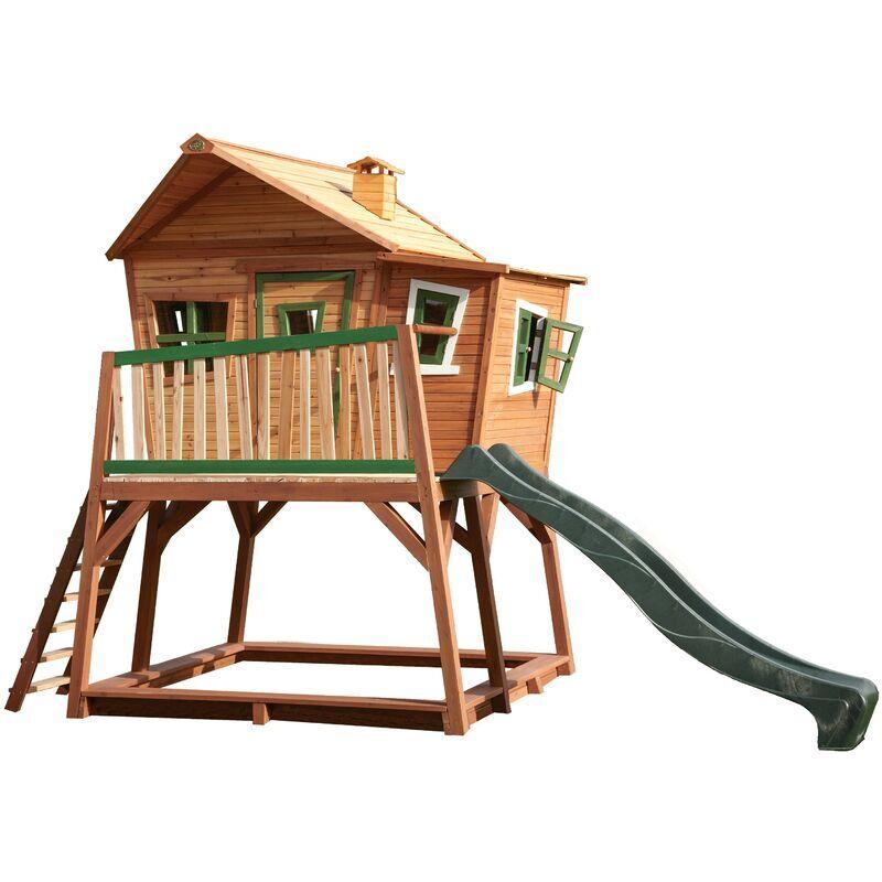 AXI Max Maison Enfant avec Bac à Sable & Toboggan vert   Aire de Jeux