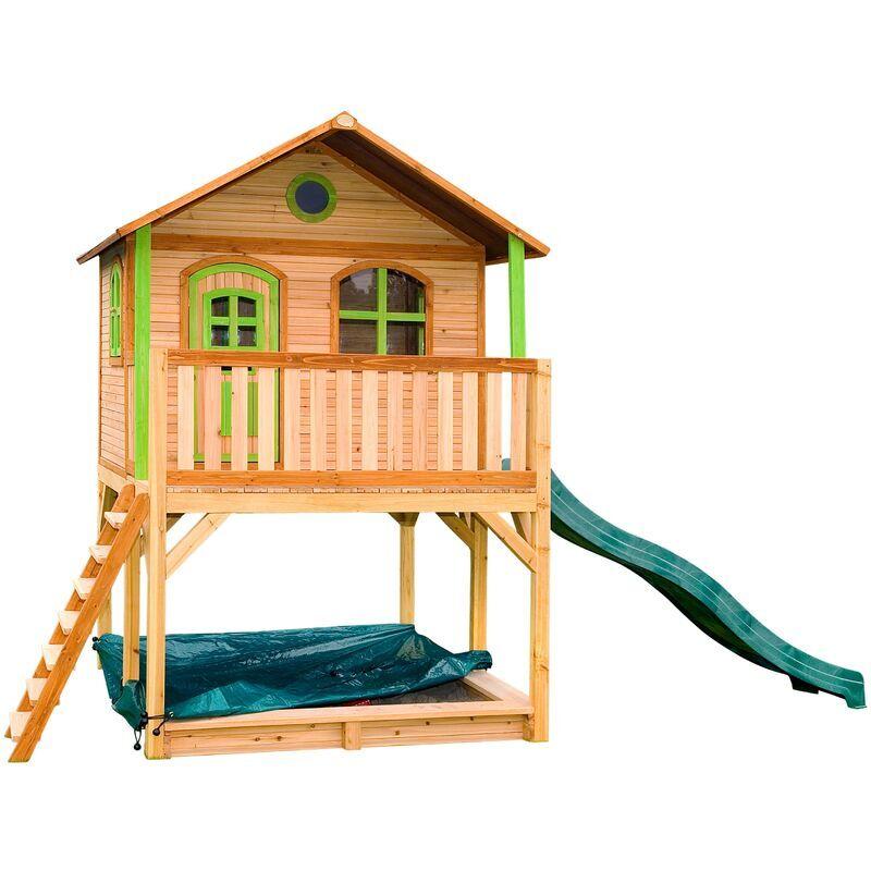 AXI Marc Maison Enfant avec Bac à Sable & Toboggan vert   Aire de Jeux