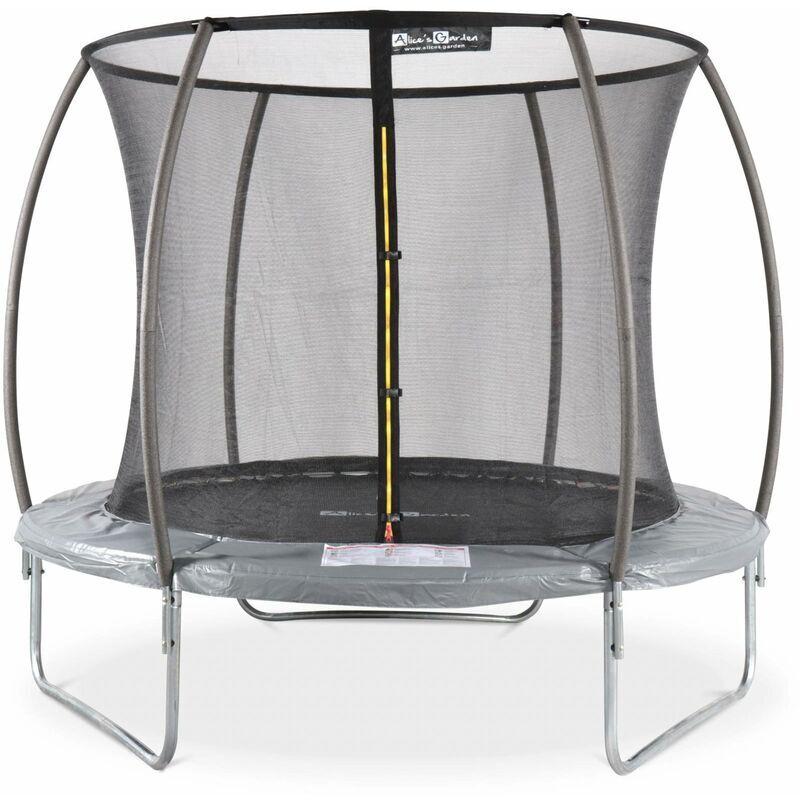 ALICE'S GARDEN Trampoline rond Ø 250cm gris avec filet de protection intérieur
