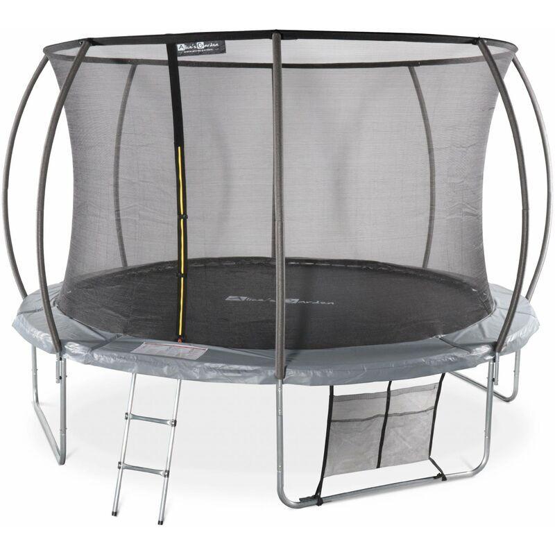ALICE'S GARDEN Trampoline rond Ø 370cm gris - Saturne Inner XXL – trampoline de jardin