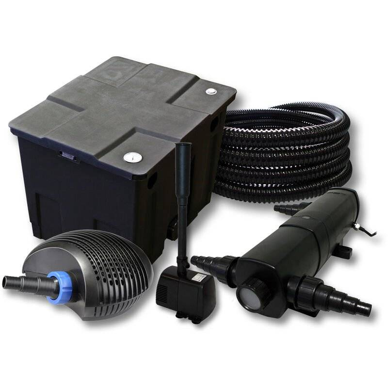 WILTEC Kit de filtration de bassin 12000l avec 24W Stérilisateur CTF éco Pompe