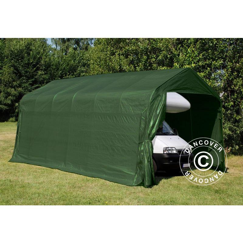 DANCOVER Tente Abri Voiture Garage PRO 3,77x7,3x3,18m, PVC, Vert - DANCOVER
