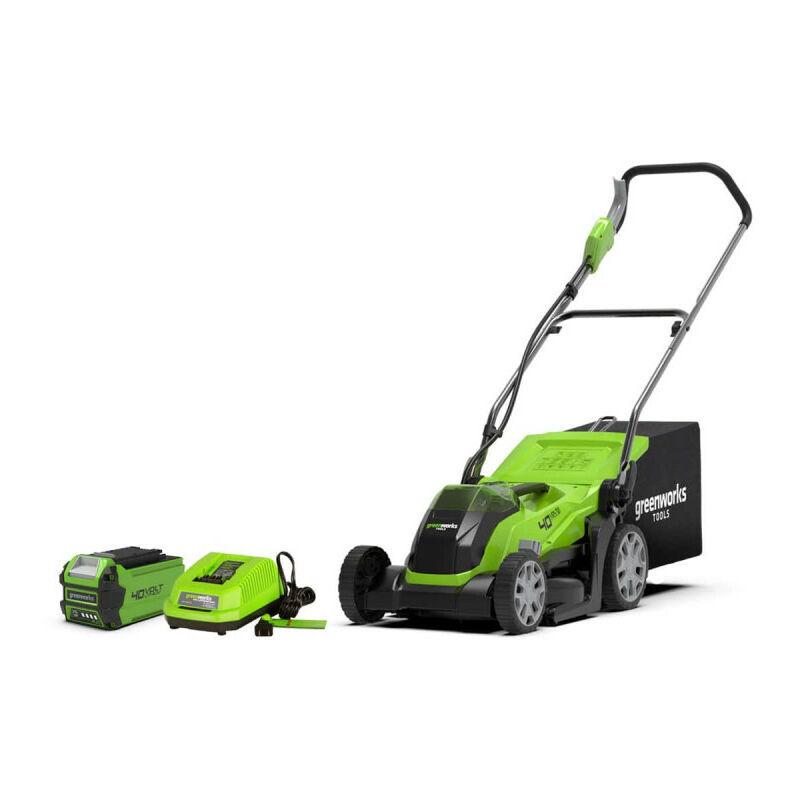 Tondeuse GREENWORKS 40V – Coupe de 35cm – 1 batterie 2,0Ah – 1 chargeur – G40LM35K2