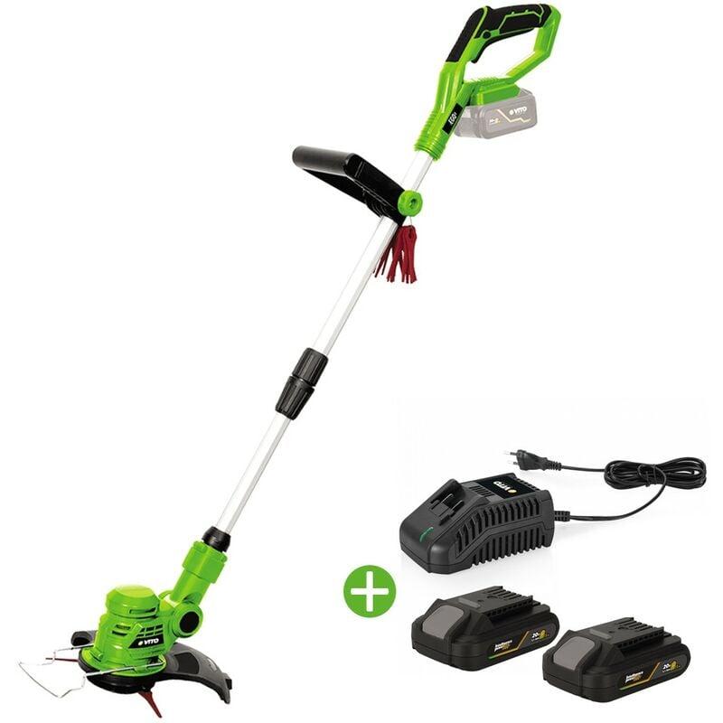 Vito Garden – Coupe Bordure sans fil 20V VITO EGO LI + 2 Batteries 2AH + Chargeur + Jeu de 20 lames coupantes