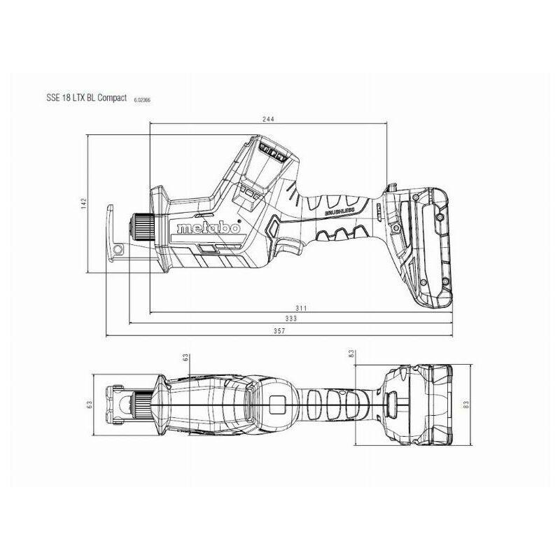 Metabo Scie sabre sans fil SSE 18 LTX BL Compact - 602366800