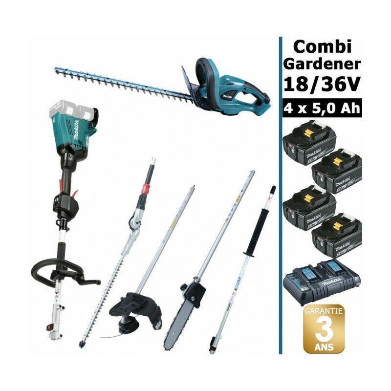 Makita - Pack 18/36V Combi Gardener: outil multifonction 36V avec 4