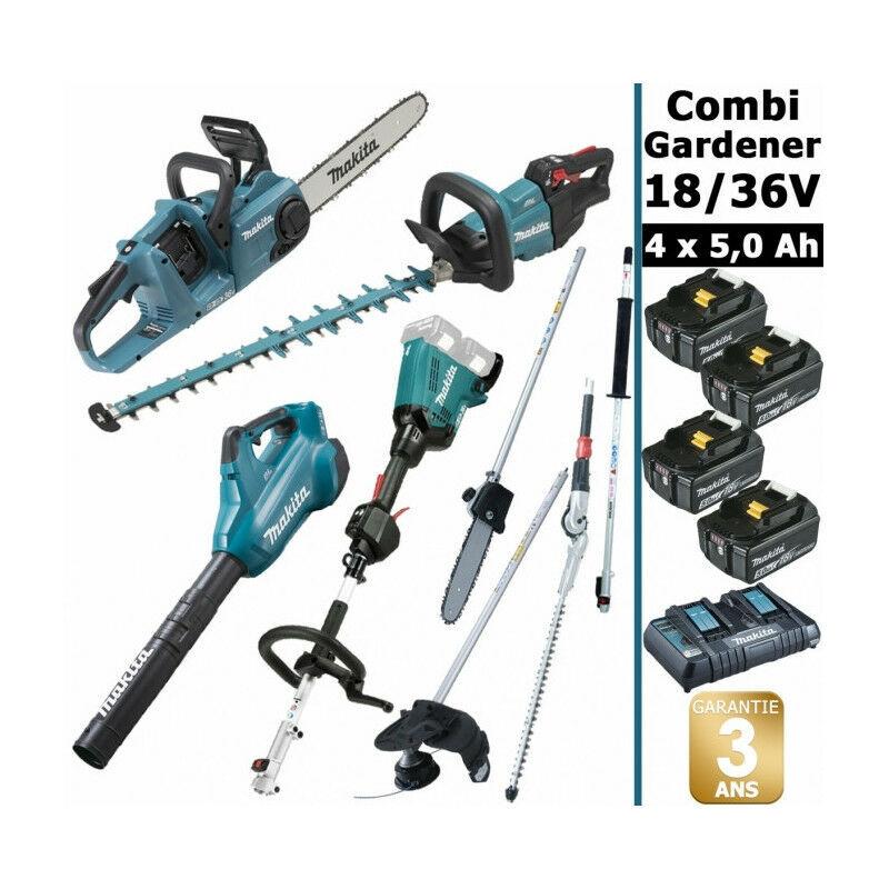 MAKITA Pack 18/36V Combi Gardener: outil multifonction avec 4 accessoires +