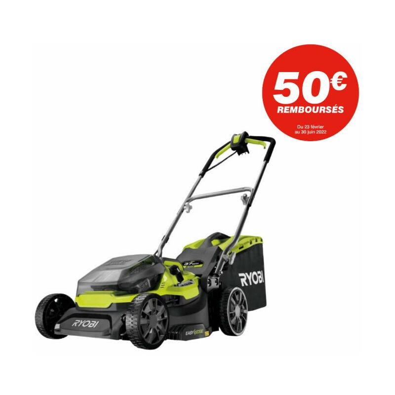Tondeuse RYOBI Hybride 36V Fusion coupe 37 cm – 2 batteries LithiumPlus 5,0Ah – 1 chargeur rapide 2,0A – RY18LMH37A-250