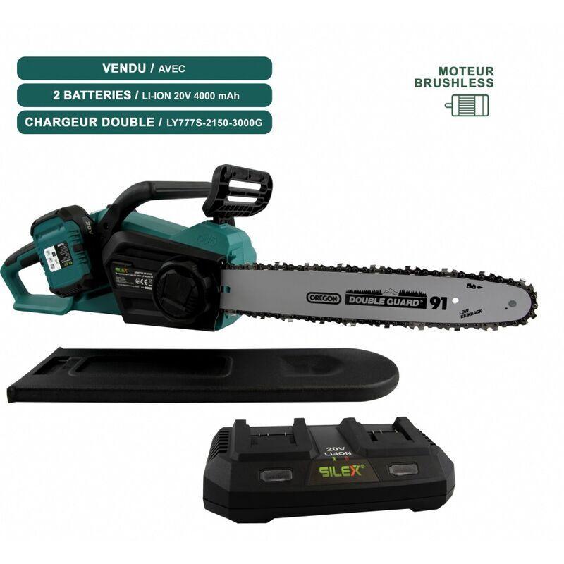 Tronçonneuse sans fil à batterie 40V SLX ® + chargeur + 2 batteries 4ah – moteur Brushless – guide /chaîne Oregon 35 cm  – SILEX