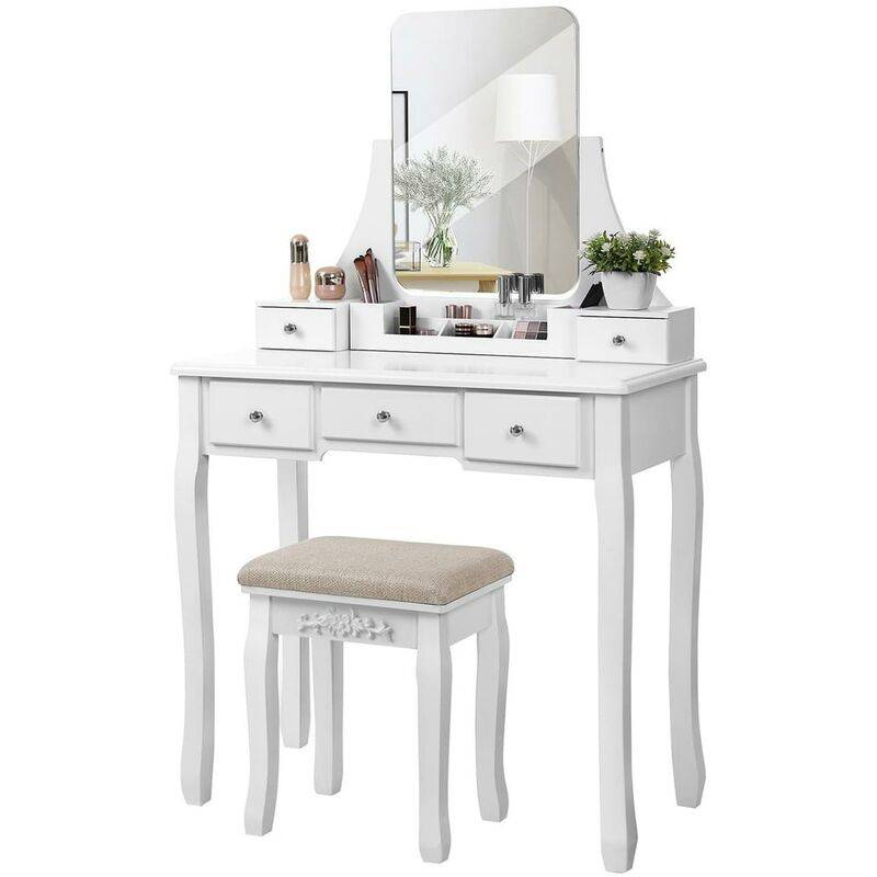 SONGMICS VASAGLE Coiffeuse Moderne, Table de Maquillage en MDF et en Bois de