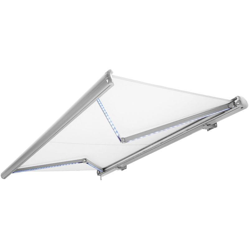 NEMAXX Store banne motorisé de NEMAXX avec LED, coloris de la toile blanc,