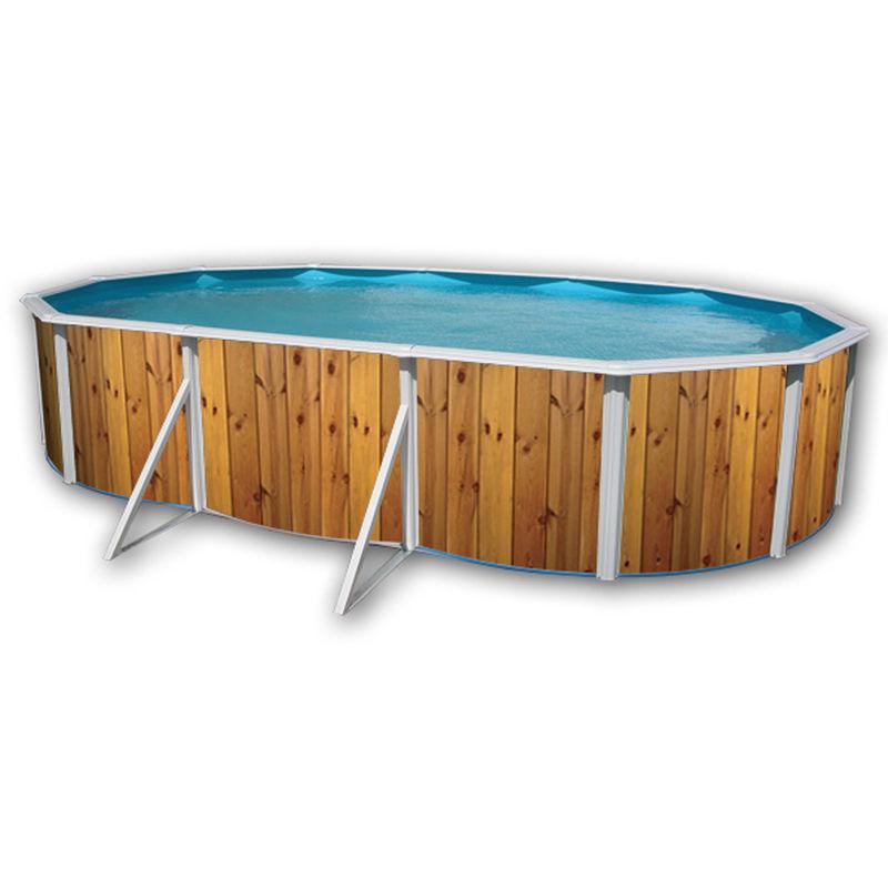 TOI Kit piscine hors-sol acier VETA ovale décoration bois 6.40 x 3.66 x