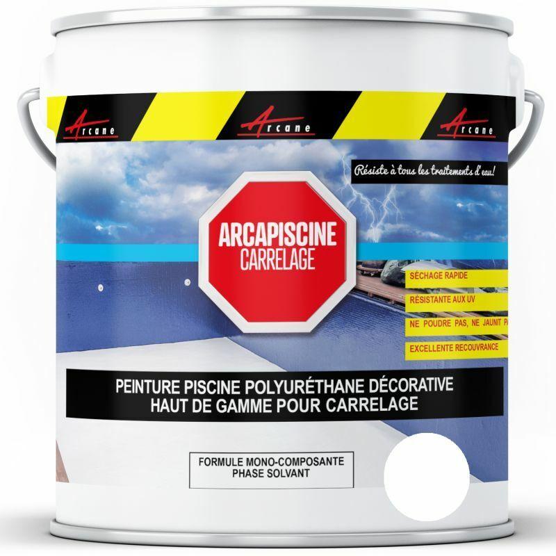 ARCANE INDUSTRIES Peinture Piscine Carrelage Polyuréthane Blanc Piscine - 20 kg (jusqu'à